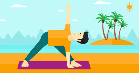 man meditating: An asian man meditating in yoga triangle pose on the beach vector flat design illustration. Horizontal layout. Illustration