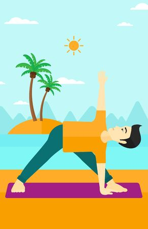 man meditating: An asian man meditating in yoga triangle pose on the beach vector flat design illustration. Vertical layout.