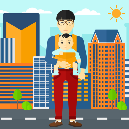 An asian man carrying a baby in sling on the background of modern city vector flat design illustration. Square layout.