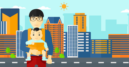 family human: An asian man carrying a baby in sling on the background of modern city vector flat design illustration. Horizontal layout.