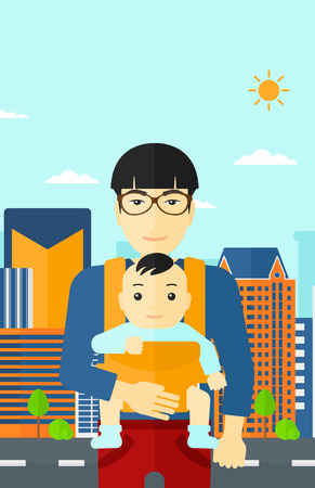 sling: An asian man carrying a baby in sling on the background of modern city vector flat design illustration. Vertical layout. Illustration