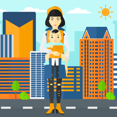 An asian woman holding baby in sling on the background of modern city vector flat design illustration. Square layout. Illustration