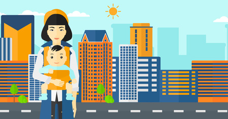 nursing mother: An asian woman holding baby in sling on the background of modern city vector flat design illustration. Horizontal layout.