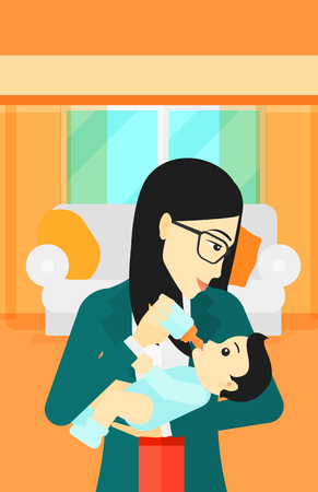 woman drinking milk: An asian woman feeding a little baby with a milk bottle on the background of living room vector flat design illustration. Vertical layout.