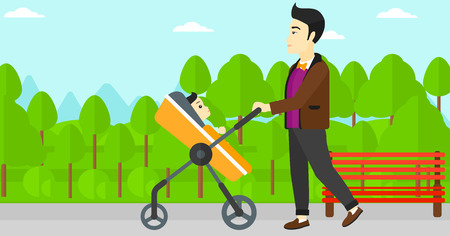 An asian young father walking with baby stroller in the park vector flat design illustration. Horizontal layout.