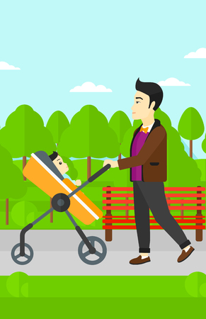 An asian young father walking with baby stroller in the park vector flat design illustration. Vertical layout.