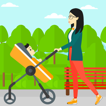 An asian young mother walking with baby stroller in the park vector flat design illustration. Square layout.
