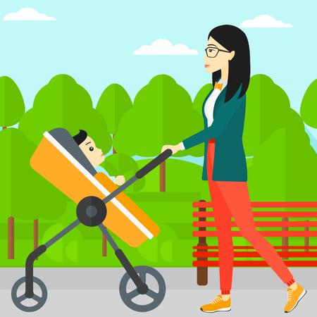 Une jeune mère asiatique marchant avec poussette de bébé dans le vecteur parc design plat illustration. layout Square. Banque d'images - 54521914