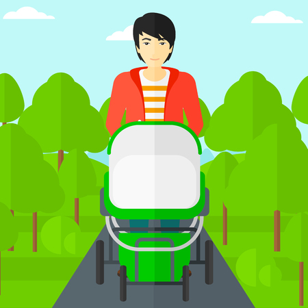 An asian man walking with baby stroller in the park vector flat design illustration. Square layout.