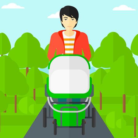 Un homme asiatique marchant avec poussette de bébé dans le vecteur parc design plat illustration. layout Square. Banque d'images - 54521921