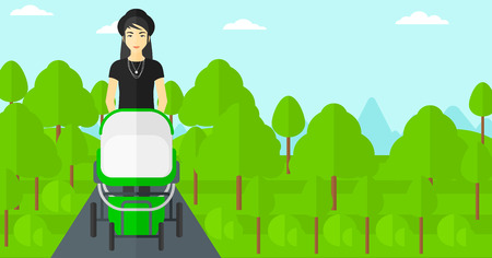 family human: An asian young mother walking with baby stroller in the park vector flat design illustration. Horizontal layout. Illustration