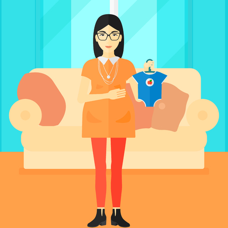 An asian pregnant woman holding clothes for her baby on the background of living room vector flat design illustration. Square layout.