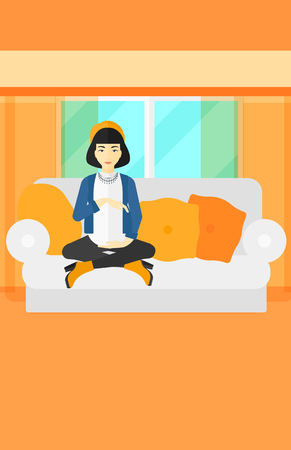family sofa: An asian pregnant woman sitting on a sofa in living room vector flat design illustration. Vertical layout.
