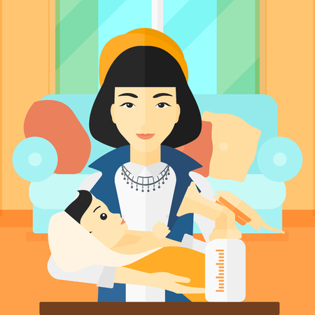 An asian woman holding a newborn baby and a breast pump standing on the table in front of her on the background of living room vector flat design illustration. Square layout.