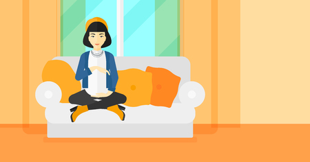 expectant: An asian pregnant woman sitting on a sofa in living room vector flat design illustration. Horizontal layout.