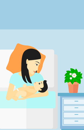 maternity ward: An asian woman lying in bed with a newborn baby in a maternity ward vector flat design illustration. Vertical layout.