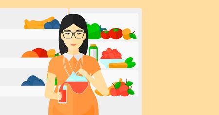 Amerikanischer Kühlschrank Flach : Eine asiatische schwangere frau in der nähe von kühlschrank stehen