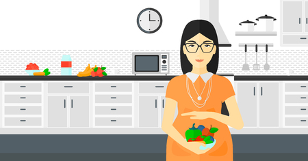 An asian pregnant woman holding a bowl with vegetables on a kitchen background vector flat design illustration. Horizontal layout.