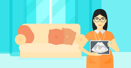 An asian pregnant woman holding a tablet with an ultrasound image on the background of living room vector flat design illustration. Horizontal layout. 矢量图像