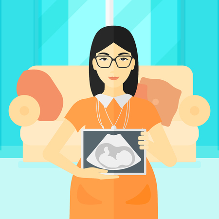 childbearing: An asian pregnant woman holding a tablet with an ultrasound image on the background of living room vector flat design illustration. Square layout. Illustration