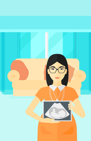 childbearing: An asian pregnant woman holding a tablet with an ultrasound image on the background of living room vector flat design illustration. Vertical layout. Illustration