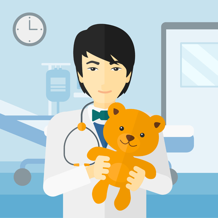 hospital gown: An asian pediatrician holding a teddy bear on the background of hospital ward vector flat design illustration. Square layout. Illustration
