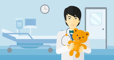 pediatrist: An asian pediatrician holding a teddy bear on the background of hospital ward vector flat design illustration. Horizontal layout. Illustration