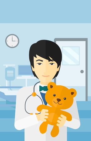 hospital ward: An asian pediatrician holding a teddy bear on the background of hospital ward vector flat design illustration. Vertical layout.