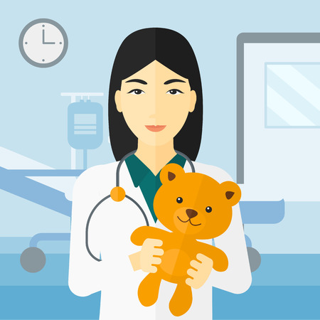 ward: An asian pediatrician holding a teddy bear on the background of hospital ward vector flat design illustration. Square layout. Illustration