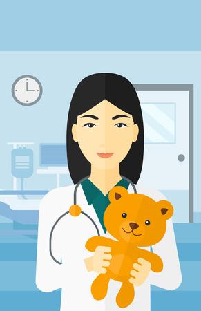 pediatrician: An asian pediatrician holding a teddy bear on the background of hospital ward vector flat design illustration. Vertical layout.