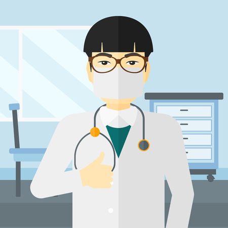protective gown: An asian doctor in mask showing thumb up on the background of medical office vector flat design illustration. Square layout.