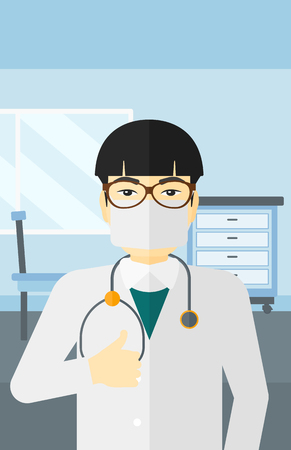 protective gown: An asian  doctor in mask showing thumb up on the background of medical office vector flat design illustration. Vertical layout.