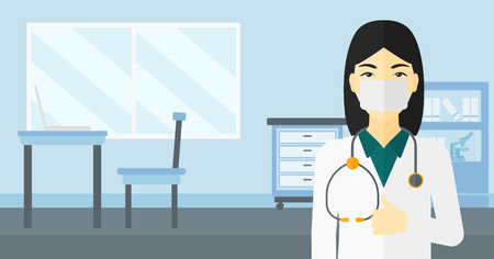 protective gown: An asian doctor in mask showing thumb up on the background of medical office vector flat design illustration. Horizontal layout. Illustration