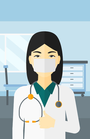 protective gown: An asian doctor in mask showing thumb up on the background of medical office vector flat design illustration. Vertical layout. Illustration