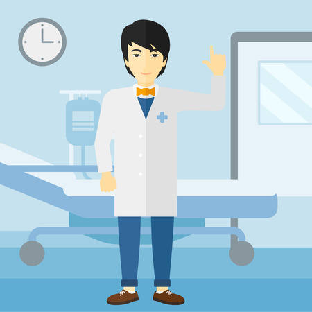 hospital ward: An asian happy doctor in medical gown showing finger up on the background of hospital ward vector flat design illustration. Square layout. Illustration