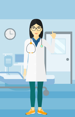 hospital gown: An asian happy doctor in medical gown showing finger up on the background of hospital ward vector flat design illustration. Vertical layout.