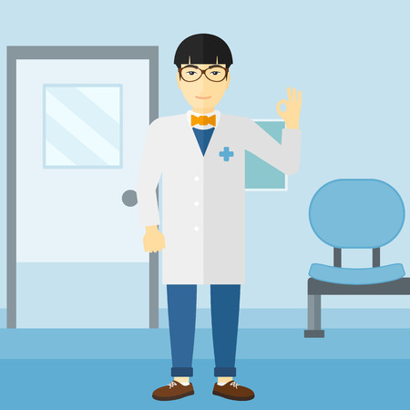 hospital gown: An asian friendly doctor in medical gown showing ok sign on the background of hospital corridor vector flat design illustration. Square layout.