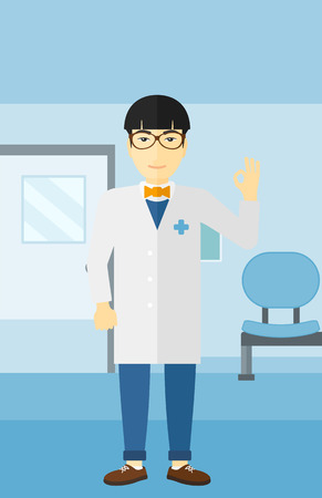 hospital corridor: An asian friendly doctor in medical gown showing ok sign on the background of hospital corridor vector flat design illustration. Vertical layout. Illustration