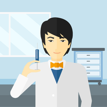 ward: An asian doctor holding the syringe with medication on the background of hospital ward vector flat design illustration. Square layout. Illustration