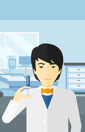 ward: An asian  doctor holding the syringe with medication on the background of hospital ward vector flat design illustration. Vertical layout.