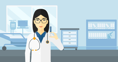 ward: An asian doctor holding the syringe with medication on the background of hospital ward vector flat design illustration. Horizontal layout.