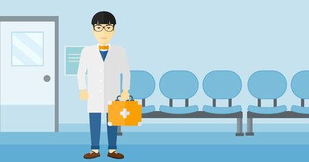 An asian doctor standing with first aid box on a hospital background vector flat design illustration. Horizontal layout.