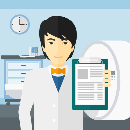 An asian doctor holding medical notepad on the background of hospital room with MRI machine vector flat design illustration. Square layout.