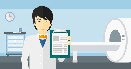 mri: An asian doctor holding medical notepad on the background of hospital room with MRI machine vector flat design illustration. Horizontal layout. Illustration