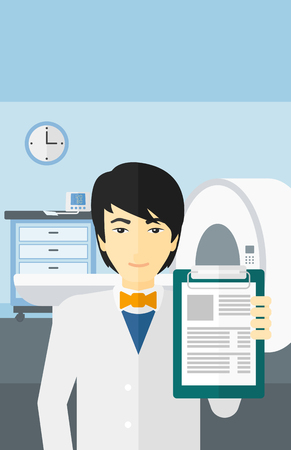 mri: An asian doctor holding medical notepad on the background of hospital room with MRI machine vector flat design illustration. Vertical layout.