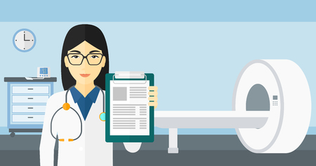 An asian doctor holding medical notepad on the background of hospital room with MRI machine vector flat design illustration. Horizontal layout. 向量圖像