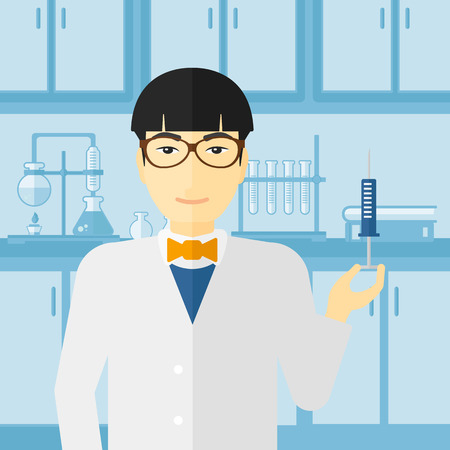 an injector: An asian doctor holding the syringe with medication on the background of laboratory vector flat design illustration. Square layout. Illustration