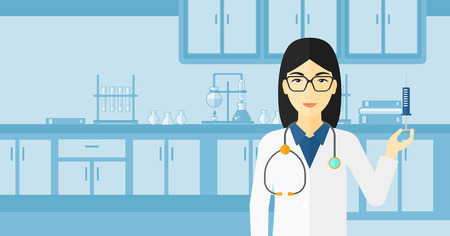 vaccinate: An asian doctor holding the syringe with medication on the background of laboratory vector flat design illustration. Horizontal layout. Illustration