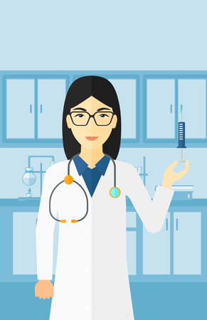 an injector: An asian doctor holding the syringe with medication on the background of laboratory vector flat design illustration. Vertical layout. Illustration