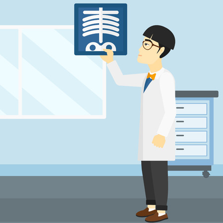 radiograph: An asian doctor examining a radiograph on the background of medical office vector flat design illustration. Square layout. Illustration